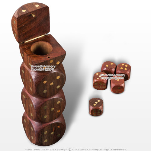 16mm Lot of 5 Handmade Wooden Dice Set Casino Game Gambling w/ Dices Shaped Box