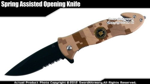 US Navy Seals Desert Camo Assisted Open Pocket Folding Rescue Knife Belt  Cutter