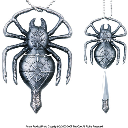"""Fantasy Spider Necklace with Knife With 30"""" Chain (New)"""