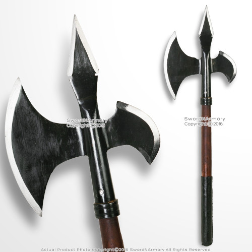 "23"" Iron Blackened Viking Warriror Battle Axe Combat Hatchet Poleaxe SCA LARP"