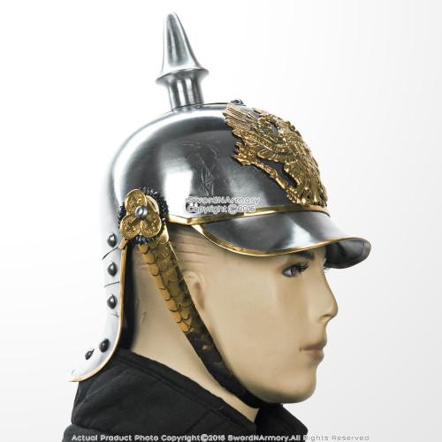 WWI WWII German Pickelhaube Helmet Prussian Officer Spike Helm w/ Brass  Buckle