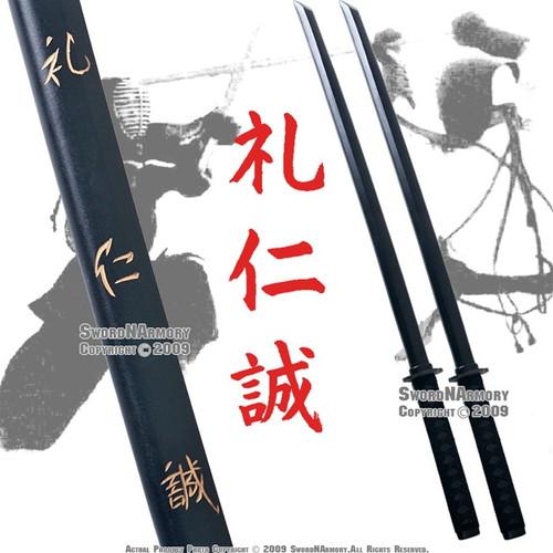 2 Pcs Duty  Wooden Kendo Practice Bokken Katana Sword W/ Wrap
