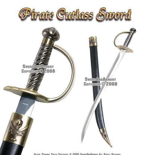 "28"" Pirates of Caribbean Cutlass Sword Bow Guard Saber Movie Replica with Scab"