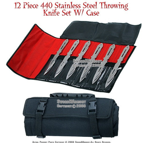 """12 Pcs 9"""" 440 Stainless Steel Throwing Knife Set With Case 1"""