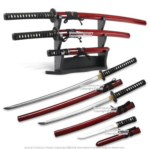 Red Last Samurai Katana Sword Set Katana Wakizashi Tanto with Display Stand  Red