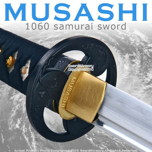 Handmade Musashi 1060 Katana Samurai Sword Tomoe Black