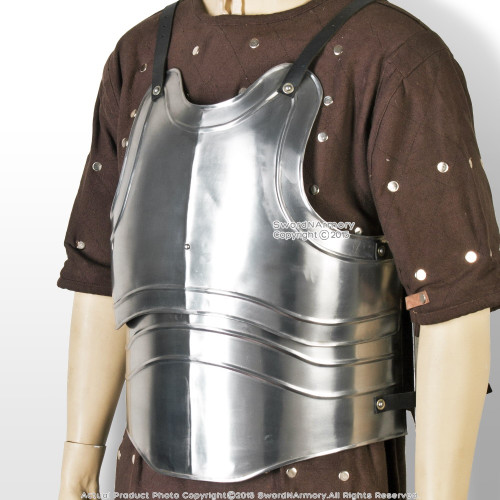 X-Large Size Medieval 18G Steel Body Armor Breast Plate with Fluted Cuirass LARP