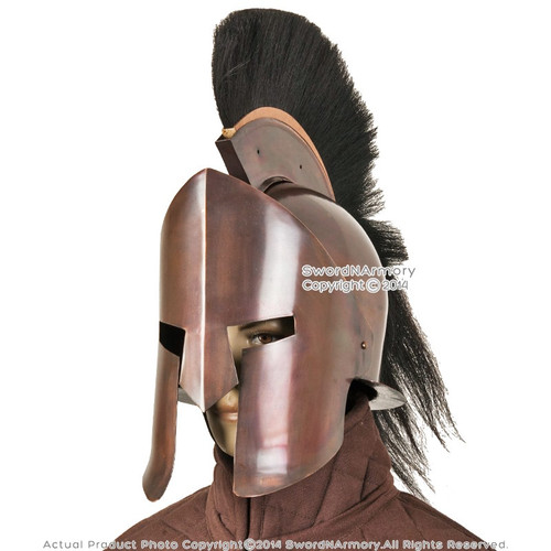 Greek Spartan King 300 Crested Helmet w/ Copper Finish & Liner Reenactment LARP