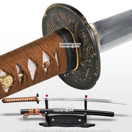SNA Sword Focus: Ryujin Brand Handmade T10 Hira Zukuri Samurai Katana Sword Differential Harden