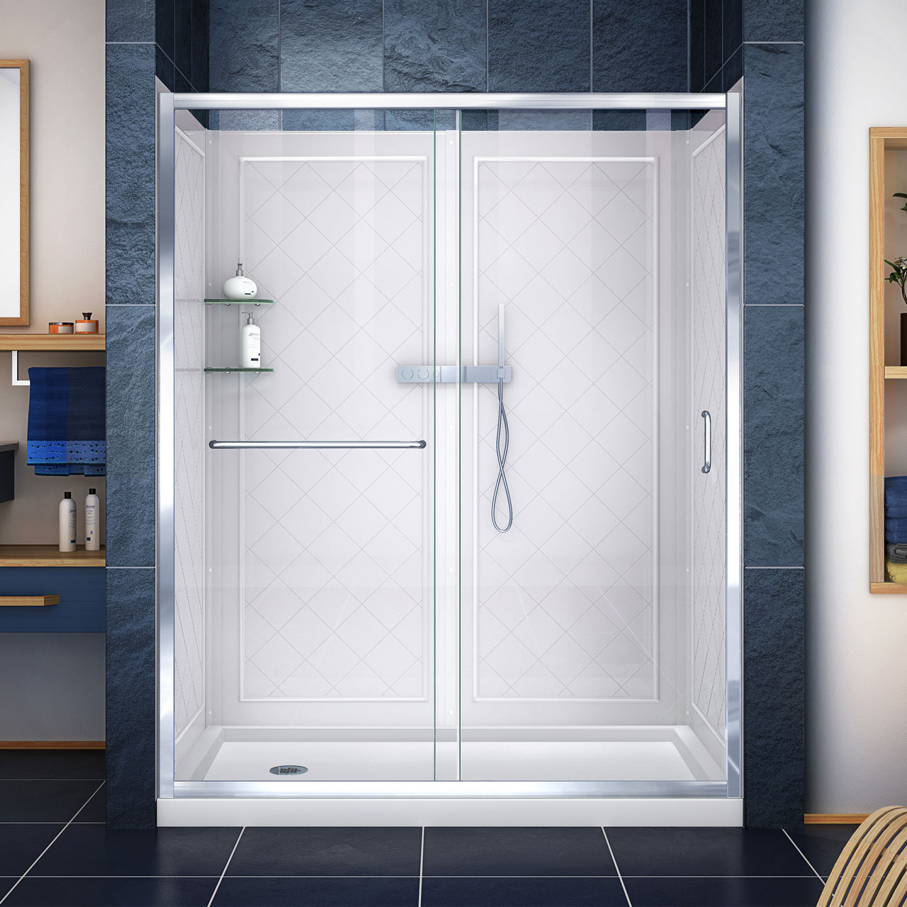 Dreamline Infinity Z 30 In D X 60 In W X 76 3 4 In H Semi Frameless Sliding Shower Door Shower Base And Qwall 5 Backwall Kit Clear Glass