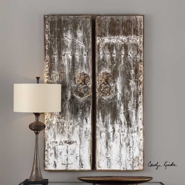Uttermost Giles Aged Wood Wall Art, S/2