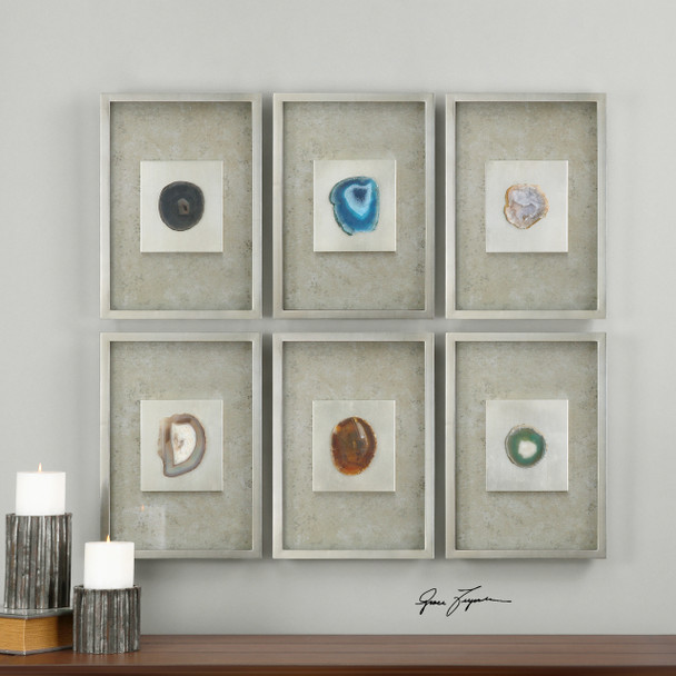Uttermost Agate Stone Silver Wall Art S/6