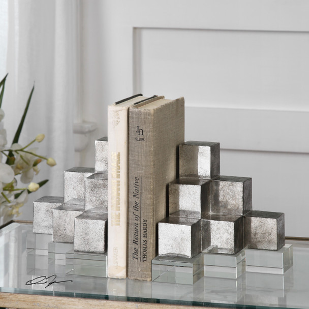 Uttermost Valerio Silver Bookends S/2
