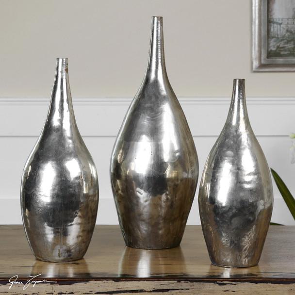 Uttermost Rajata Silver Vases S/3