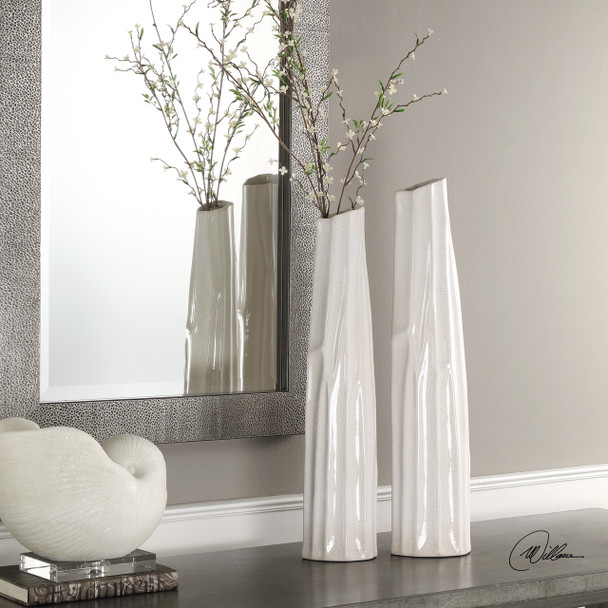 Uttermost Kenley Crackled White Vases S/2