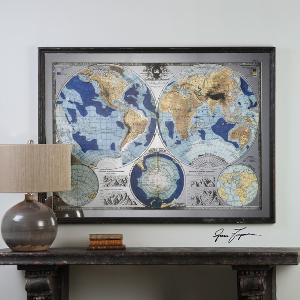 Uttermost Mirrored World Map - 32538