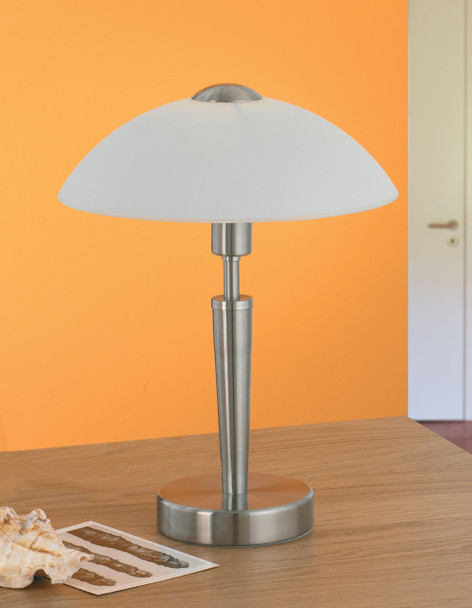Eglo 1x60w Table Lamp W/ Matte Nickel Finish & Frosted Opal  Glass - 85104A