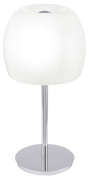 Eglo 2x60w Table Lamp W/ Chrome Finish & Glossy White Glass Shade - 90125A