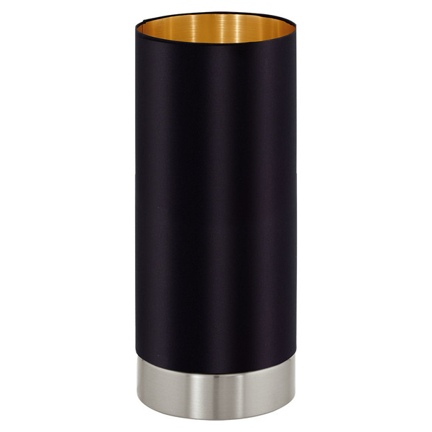 Eglo 1x60w Cylinder Table Lamp W/ Black & Gold Shade - 95117A