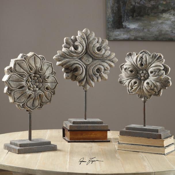 Uttermost Alarik Aged Ivory Florals, S/3
