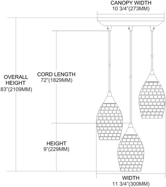 ELK Lighting Capri 3-Light Mini Pendant - 10141/3