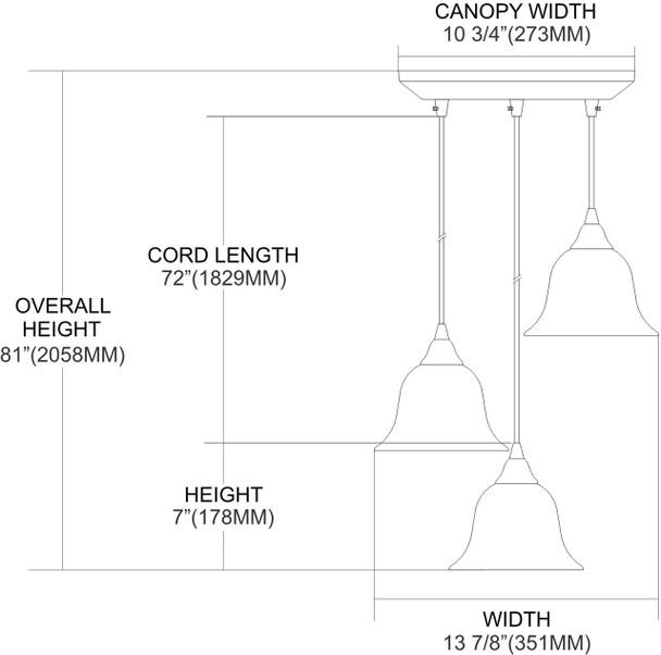 ELK Lighting Firestorm 3-Light Mini Pendant - 10144/3FS