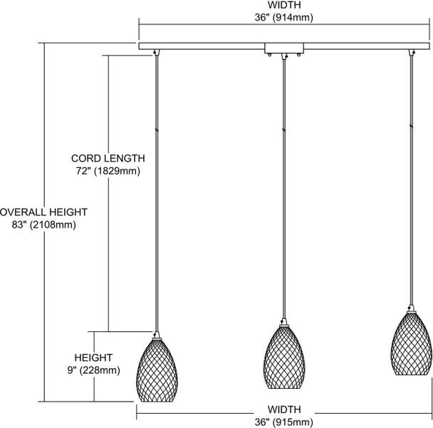 ELK Lighting Geval 3-Light Mini Pendant - 10253/3L-CL