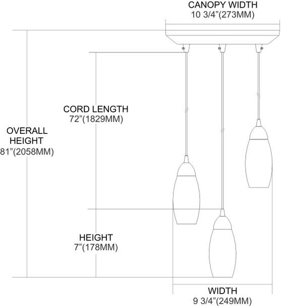 ELK Lighting Milan 3-Light Mini Pendant - 110-3ES
