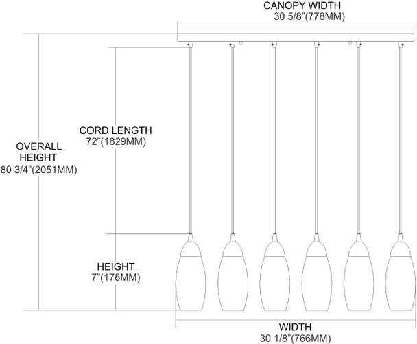 ELK Lighting Milan 6-Light Mini Pendant - 110-6RC-YW