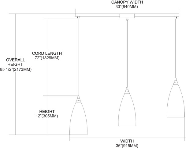 ELK Lighting Vesta 3-Light Mini Pendant - 2581/3L