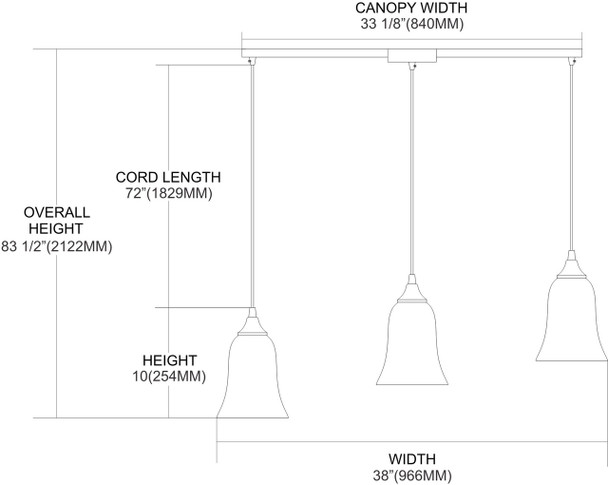 ELK Lighting Granite 3-Light Mini Pendant - 31138/3L