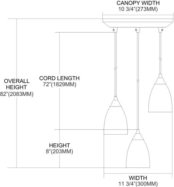 ELK Lighting Arco Baleno 3-Light Mini Pendant - 416-3C