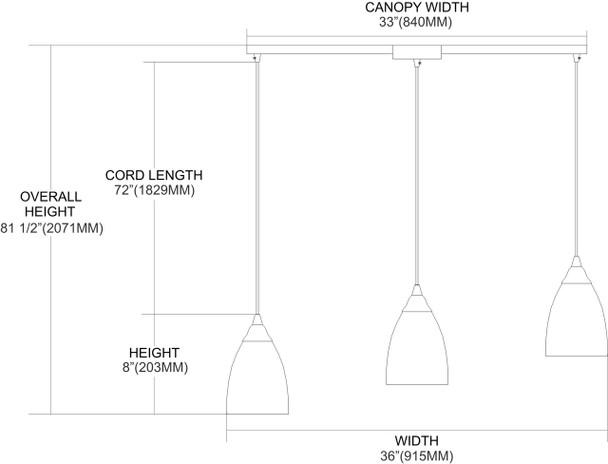 ELK Lighting Arco Baleno 3-Light Mini Pendant - 416-3L-M