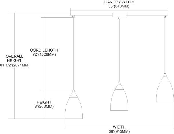ELK Lighting Pierra 3-Light Mini Pendant - 527-3L-CR