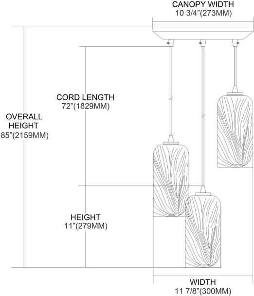 ELK Lighting Molten 3-Light Mini Pendant - 544-3MR