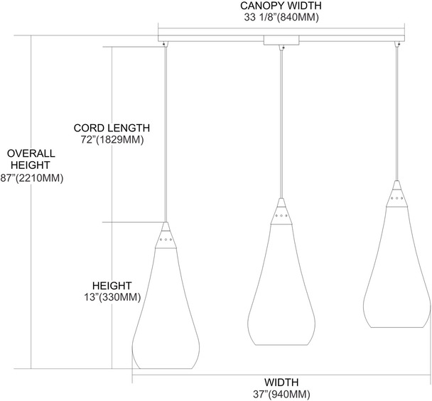 ELK Lighting Curvalo 3-Light Mini Pendant - 546-3L-RBY-CRC