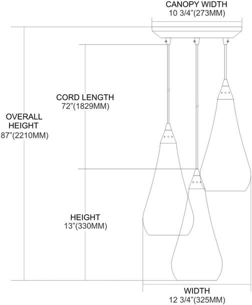 ELK Lighting Curvalo 3-Light Mini Pendant - 546-3SLVM-CRC