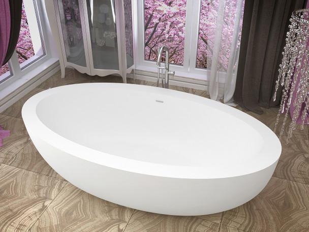 ANZZI Lusso 6.3 Ft. Man-made Stone Center Drain Freestanding Bathtub In Matte White - FT-AZ504