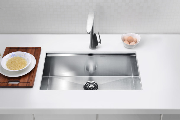 ANZZI Aegis Undermount Stainless Steel 30 In. 0-hole Single Bowl Kitchen Sink With Cutting Board And Colander - K-AZ3018-1Ac