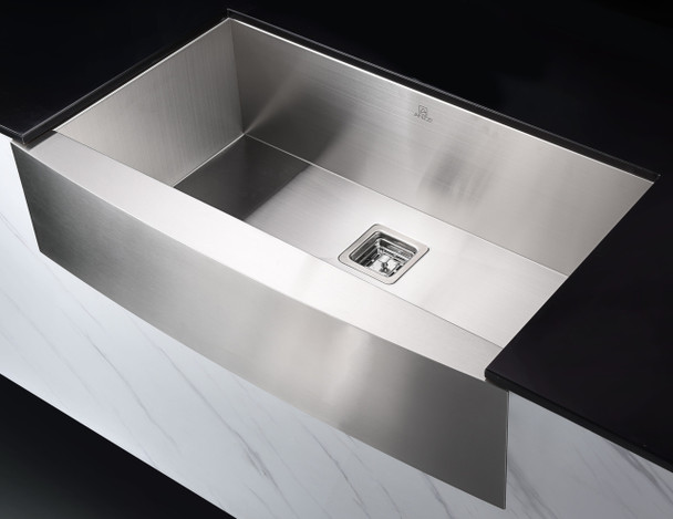 ANZZI Elysian Farmhouse 32 In. Single Bowl Kitchen Sink With Faucet In Brushed Nickel - KAZ33201AS-031B