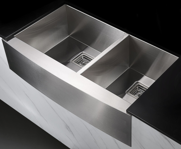 ANZZI Elysian Farmhouse 36 In. 60/40 Double Bowl Kitchen Sink With Faucet In Brushed Nickel - KAZ36203AS-042