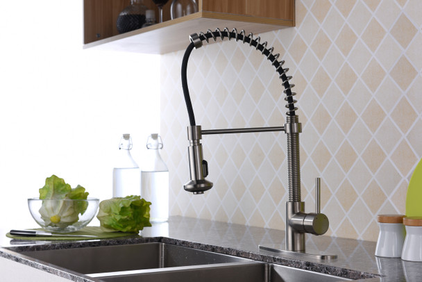 ANZZI Step Single Handle Pull-down Sprayer Kitchen Faucet In Brushed Nickel - KF-AZ194BN