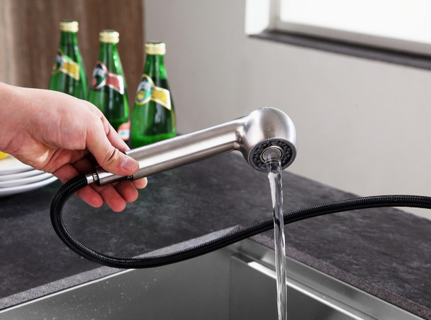 ANZZI Del Acqua Single-handle Pull-out Sprayer Kitchen Faucet In Brushed Nickel - KF-AZ204BN