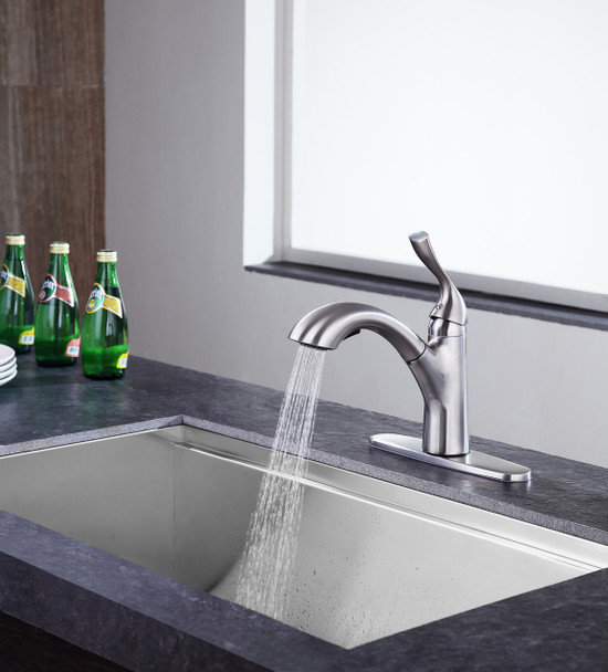 ANZZI Navona Single-handle Pull-out Sprayer Kitchen Faucet In Brushed Nickel - KF-AZ206BN