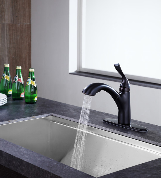 ANZZI Navona Single-handle Pull-out Sprayer Kitchen Faucet In Oil Rubbed Bronze - KF-AZ206ORB