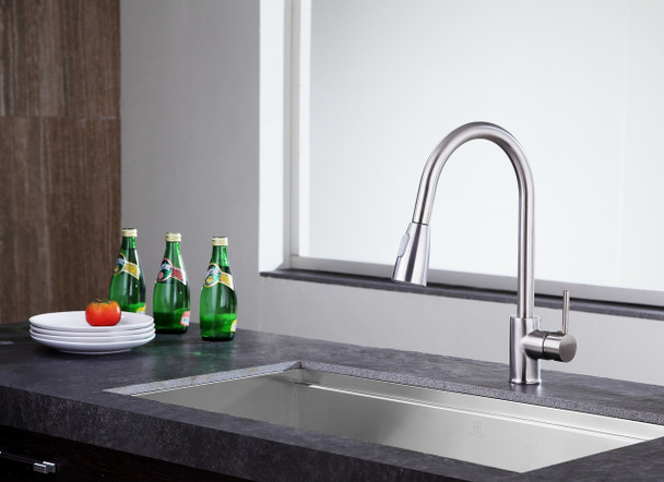 ANZZI Sire Single-handle Pull-out Sprayer Kitchen Faucet In Brushed Nickel - KF-AZ212BN
