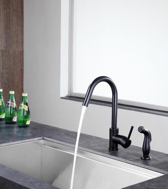 ANZZI Farnese Single-handle Standard Kitchen Faucet With Side Sprayer In Oil Rubbed Bronze - KF-AZ222ORB