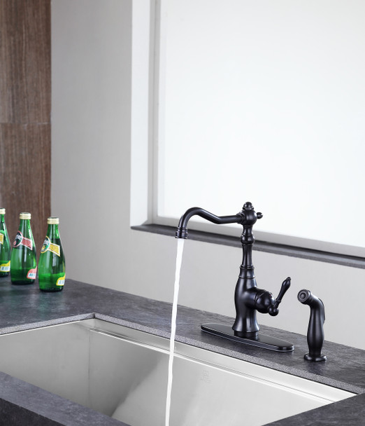 ANZZI Highland Single-handle Standard Kitchen Faucet With Side Sprayer In Oil Rubbed Bronze - KF-AZ224ORB
