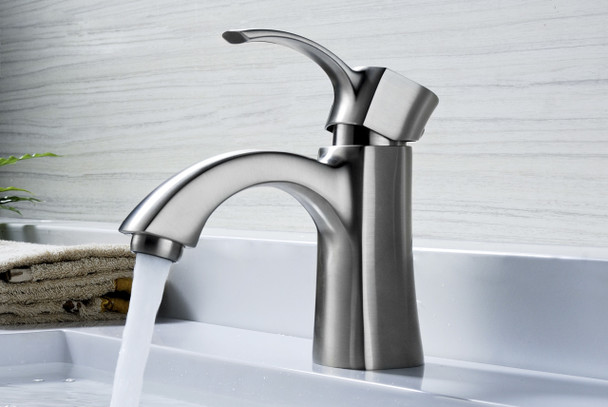 ANZZI Alto Series Single Hole Single-handle Mid-arc Bathroom Faucet In Brushed Nickel - L-AZ012BN