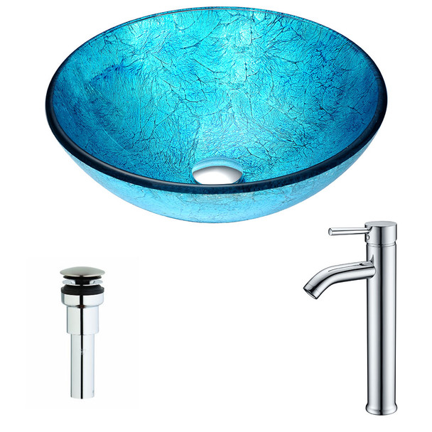ANZZI Accent Series Deco-glass Vessel Sink In Blue Ice With Fann Faucet In Chrome - LSAZ047-041